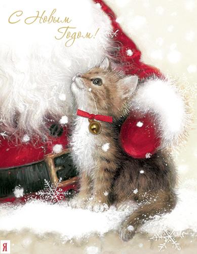 Открытки с новым годом котики