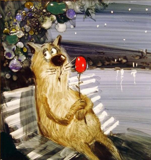 Смешные поздравления с котами фото 675