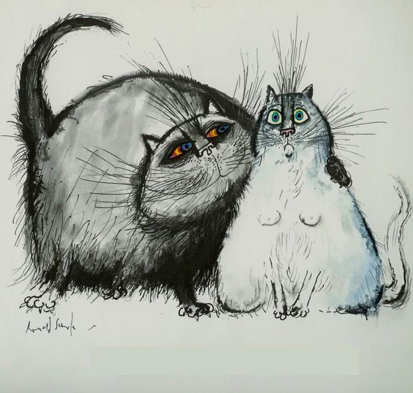 Прикольные коты рисунки карандашом, розами